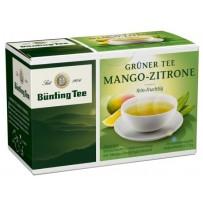 Bünting Tee Grüner Tee Mango-Zitrone, 20 vrečk